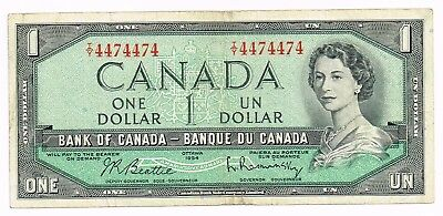 1954 (1961-71) CANADA ONE DOLLAR NOTE UNIQUE SERIAL NUMBER - p75b