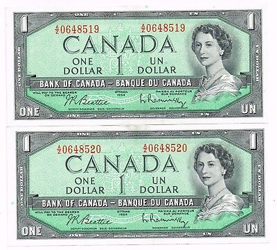 LOT OF TWO 1954 (1961-71) CANADA ONE DOLLAR NOTES IN NUMERICAL SEQUENCE - p75b