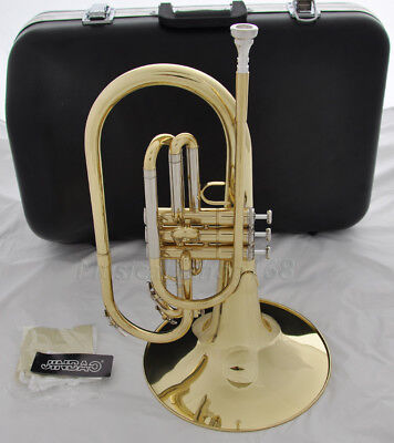 Professional Gold F key Marching Mellophone horn With Case mouthpiece