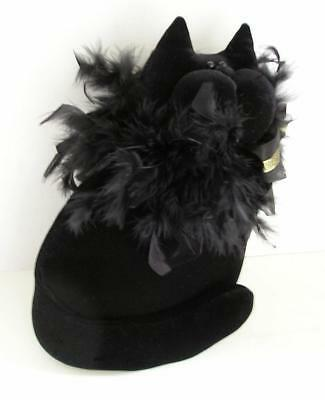 Snickelldoodles MUSICAL BLACK VELVETEEN CAT Soft Sculpture with FEATHER BOA