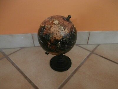 "5""  World Night Globe Metal Frame & Wood Base"