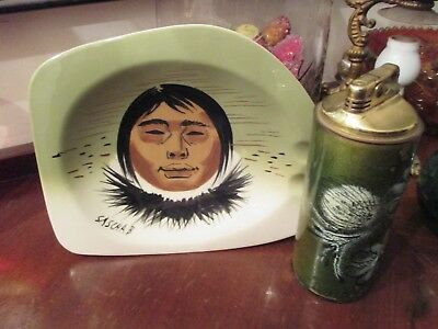 Vintage SASCHA BRASTOFF Green ESKIMO ASHTRAY & SASCHA B Cigarette LIGHTER