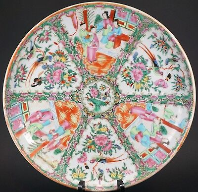 "Antique Chinese Export Porcelain 12 5/8"" ROUND PLATTER Famille Rose Medallion"