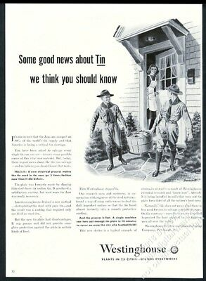 1943 Boy Scouts Scout recycling tin illustrated Westinghouse vintage print ad