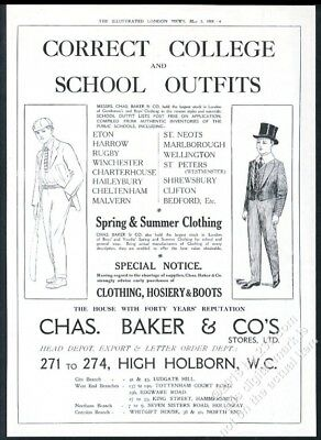 1919 English school boy uniform clothes crickert bat art Chas Baker BIG UK ad