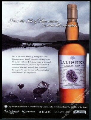 2003 Talisker Scotch Whisky bottle Isle of Skye mountains photo vintage print ad