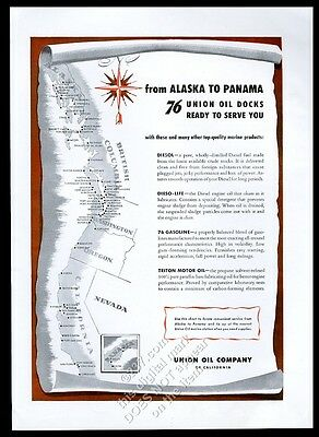 1945 Union 76 marine gas boat dock Alaska to California map vintage print ad