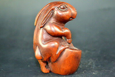 Old Handwork boxwood Zootopia Rabbit officer chinese sycee netsuke china Statue