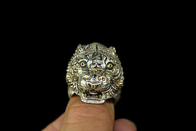 Vintage Collectible handwork Old Tibet Silver tiger chinese men Ring adjust