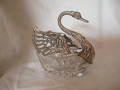 Swan Shaped Glass Dish Sterling Silver London 1973