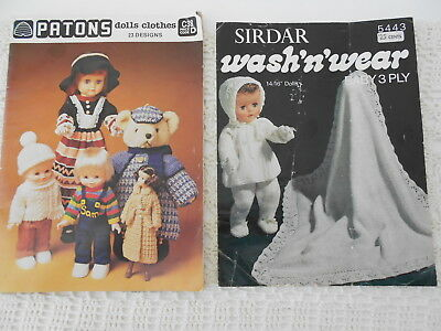 DOLLS CLOTHES x 2  MIXED PLYS KNITTING PATTERN BOOK PATONS C38 + SIRDAR 5443