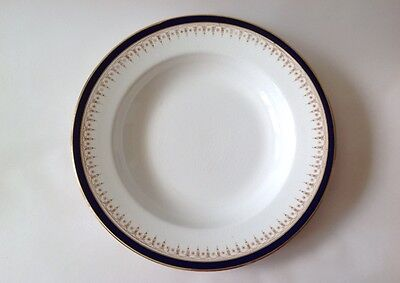 Antique Wedgwood Soup Plate / Bowl Blue and Gold on White H G Stephenson