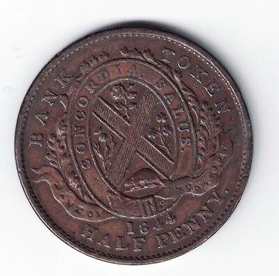 Bank Of Montreal 1844 Halfpenny Copper Token Tall Trees Small Nose Beaver