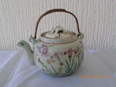 Japanese Meiji Period Earthen Ware Hand Painted Teapot Turtle Finial, Signed
