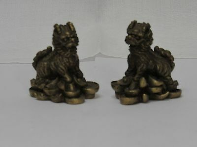 Vintage Pair of Heavy Solid Brass Foo Dogs/ Lions 55mm