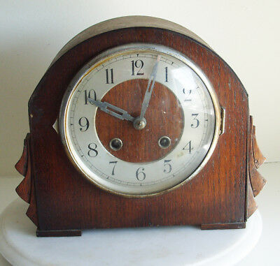 Vintage Oak Mantel Clock