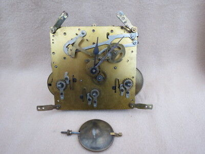 Vintage German Westminster Chime Clock Movement, Hands, And Pendulum