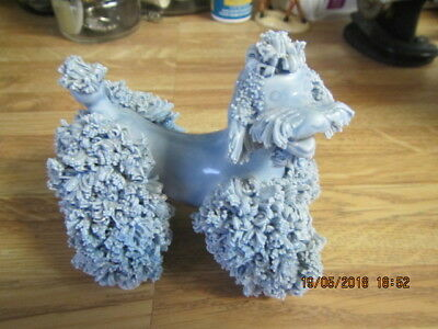 Vintage Royal Ceramic Made in Japan Poodle Figurine Blue Spaghetti