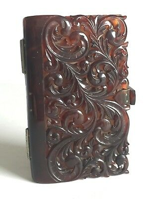 SUPERB Antique Victorian Carved Shell and Silver Aide Memoire with Writing Pad