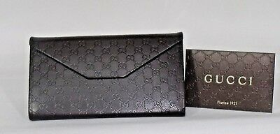 GUCCI Brown Embossed Leather Sunglass Case + Authenticity Certificate Card Large