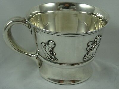NURERY RHYME CHARACTERS,  solid silver CHRISTENING MUG, 1911, 108gm