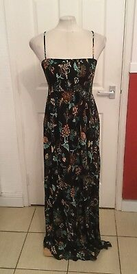 Ladies Black And Pink Floral Summer Maxi Dress Size Large H&M Maternity BNWT