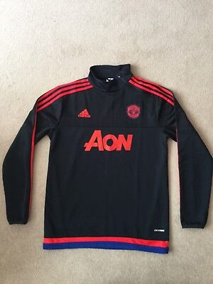 Manchester United Training Top Siz 'S' Black Adidas Good Condition No Reserve