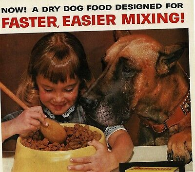 1962 FRISKIES MIX Dog Food Little Girl with GREAT DANE VTG PRINT AD