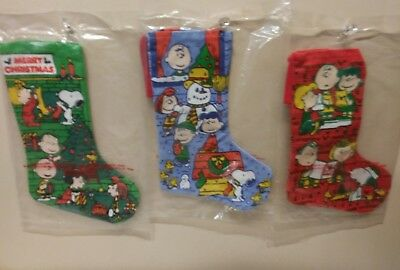Vintage Peanuts Christmas Snoopy Stockings United Feature Syndicate NEW( X3)Mini