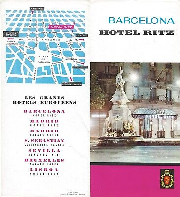 Hotel Ritz BARCELONA Spain - vintage travel brochure