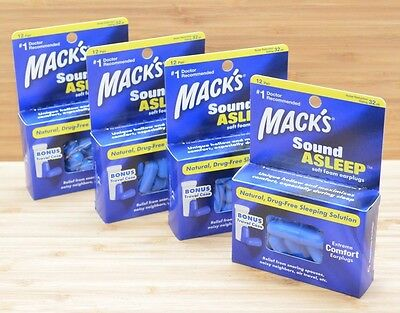 Mack's SOUND ASLEEP Soft Foam Ear Plugs With BONUS Travel Case (4 boxes/48 Pair)