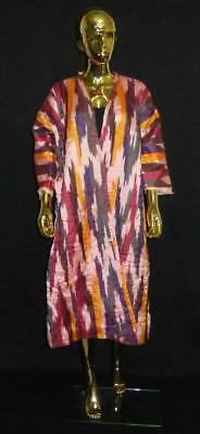 Traditional Uzbek Tajik Handmade Natural Silk Ikat Colorful Chapan Kaftan 210