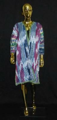 Traditional Uzbek Tajik Handmade Natural Silk Ikat Colorful Chapan Kaftan 211