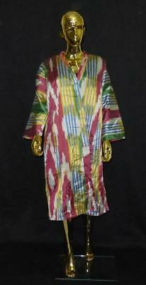 Traditional Uzbek Tajik Handmade Natural Silk Ikat Colorful Chapan Kaftan 208