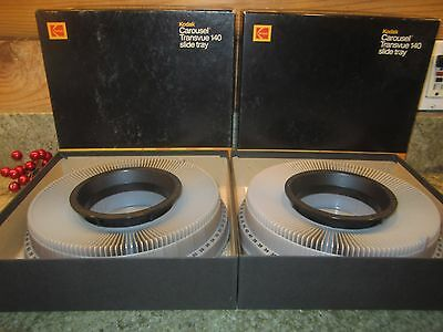 Lot of 2 KODAK Transvue 140 Slide Tray Carousels in ORIGINAL Boxes   FREE SHIP