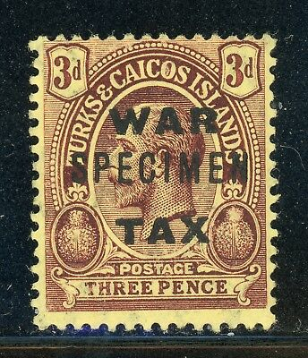 Turks & Caicos MH Selections: Scott #MR8 3p KGV War Tax SPECIMEN (1918) $$$