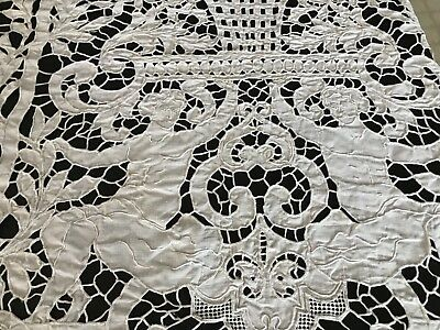 Antique Figural Lace Handmade Tablecloth