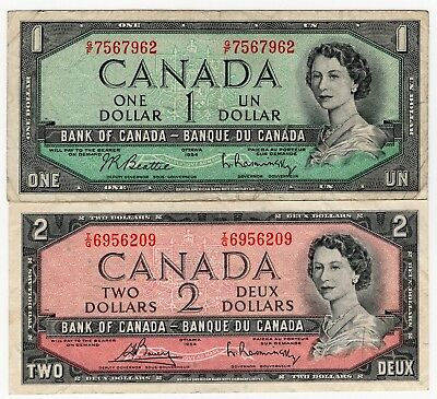 Lot Of 2 1954 Bank Of Canada One 1 And Two 2 Dollar Bank Note Nice Bills