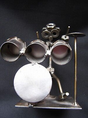 Handmade Metal Sculptured Nuts And Bolts Artwork ''the Drummer''