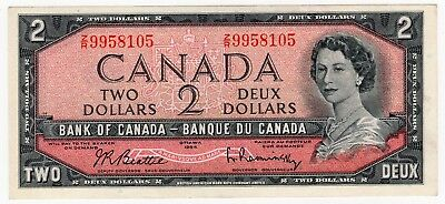 1954 Bank Of Canada Two 2 Dollar Bank Note Zr 9958105 Nice Bill