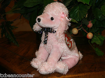 "TY~BRIGITTE Pink Poodle Dog~7"" Beanie Baby~Mint with Mint Tag~Retired~Free Ship"