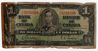 1937 Bank Of Canada One 1 Dollar Bank Note Dl 5216508 Nice Bill