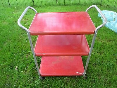 Vtg. Cosco Metal Kitchen Cart/3 Tier Mcm Red Handles As Found