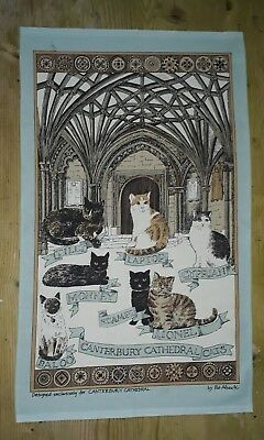 Canterbury Cathedral Cats Cotton Tea Towel By Pat Albeck With A Slight Mark