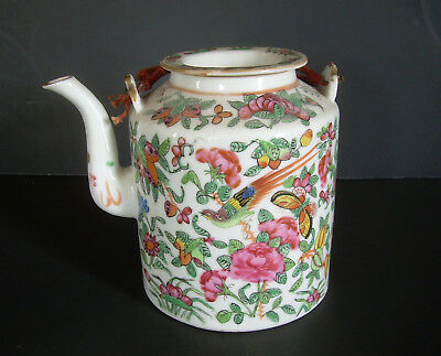 Antique 19th Century Chinese Famille Rose Teapot Bird Butterfly Pink Floral Old
