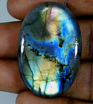 Natural Multi Labradorite Cabochon Gemstone Oval 59.50Cts.;#83752