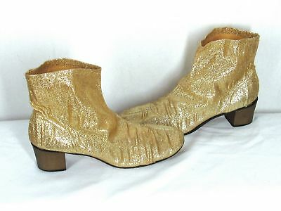Vintage 60s 1960s Gold Metallic Go-Go Ankle Boots Size 9N 9 Narrow