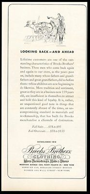1937 Brooks Brothers fall clothes Paul Brown horse sleigh art vintage print ad
