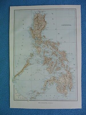 """1899 Spanish American War Lithograph Map of """"The Philippine Islands"""" - FRAME IT"""