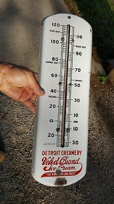 old Porcelain Thermometer Sign,Detroit Creamery,Velvet Ice Cream,Kind You Like